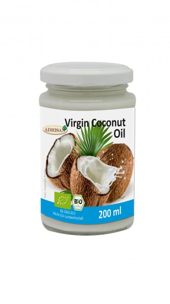 Kokosöl Virgin Coconut Oil (VCO) BIO 200ml | shop.oelfee.de | Adrisan | Kokosfett